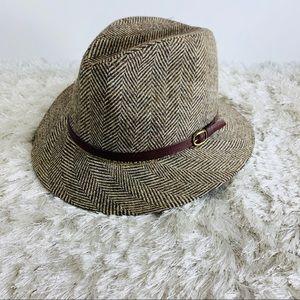 """Vtg Brown Herringbone Fedora Hat Wool 7 1/4""""-7 3/8"""